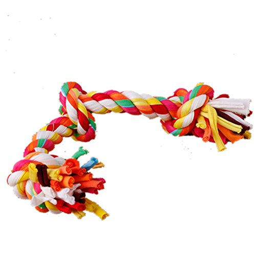 Cotton Tug Ring - Delight eShop Pet Puppy Dog Chew Toy Double/Three Knots Tug War Play Colorful Cotton Rope (Three Knots)