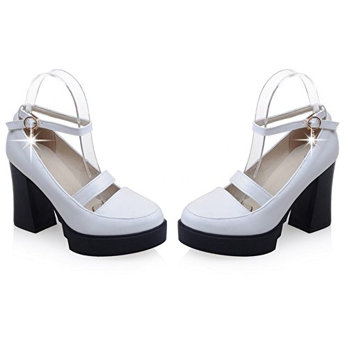 Coolcept Women Fashion Ankle Strap Court Shoes Closed Toe Block Heel Shoes White PMnutBn