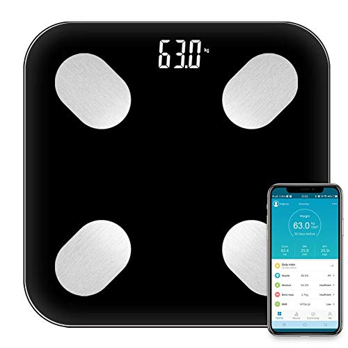 total-shop Digital Body Fat Scale, Bluetooth Personal Scale with Body Fat Body Weight, BMI, Weight, Muscle, Water, Protein, Skeletal Muscle, Bone Weight, BMR Data Analysis LED Display from total-shop