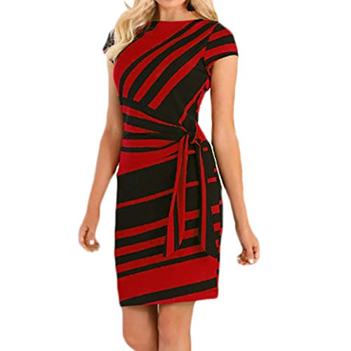 (Nikuya Women's Casual Mini Dresses Working Dresses Pencil Stripe Party Dress White Evening Dresses (Red, L))