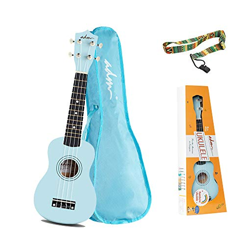 ADM Soprano Ukulele for Kids Beginners 21 Inch with Uke Starter Pack Kit, Gig Bag and Strap, Blue]()