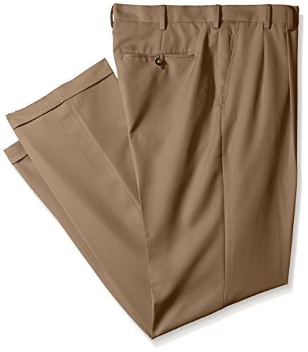 IZOD Men's Big and Tall Double Pleated Solid Twill Pant, Khaki, 44W x (Mens Double Pleated Pants)