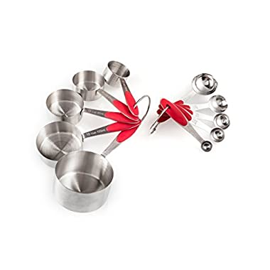 Happy Foodies Red Measuring Cups and Spoons Set. Stainless Steel measuring cups 5 pieces and spoons 5 pieces. Collapsible and Metal with Silicone Ergonomic Handles.