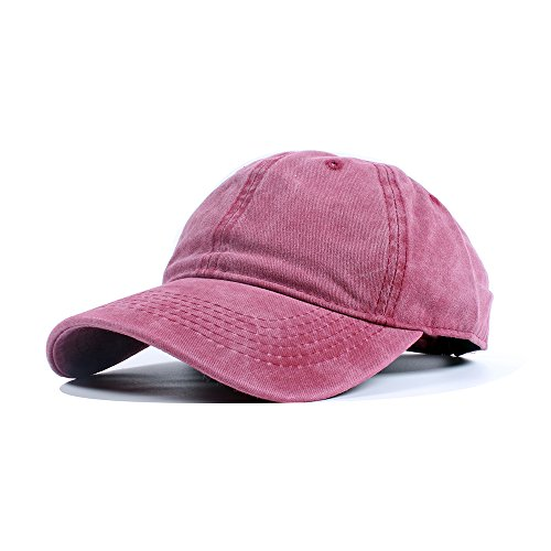 Vankerful Unisex Vintage Washed Dyed Cotton Twill Low Profile Adjustable Solid Colour Baseball Cap Strapback (Burgundy)