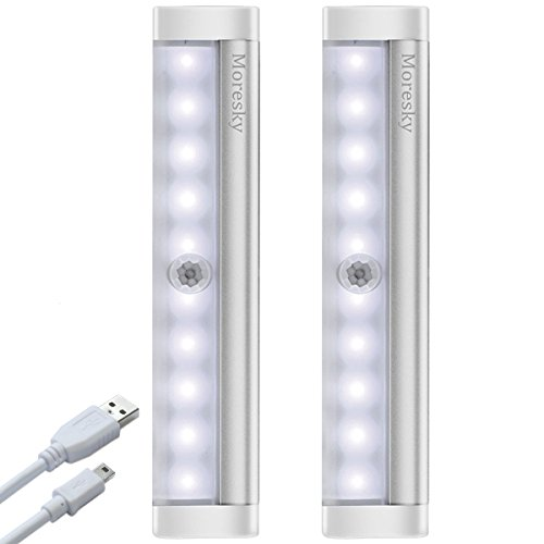 LED Closet Light Motion Activated, Moresky 10 LED USB Rechargeable Under Cabinet Light Wireless Stick-on Anywhere Magnetic Motion Sensor Light for Kitchen, Hallway, Stairway (2 Packs,Cold White) by Moresky