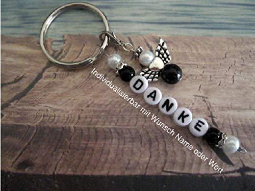 Handmade Schlüsselanhänger, Taschenanhänger Danke in Schwarz/Weiß mit Schutzengel- Text ist individualisierbar mit Wunschwort oder Namen