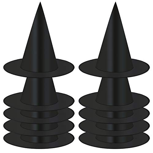 Elcoho 11 10 Pack Halloween Costume Witch Hat Accessory, Black]()