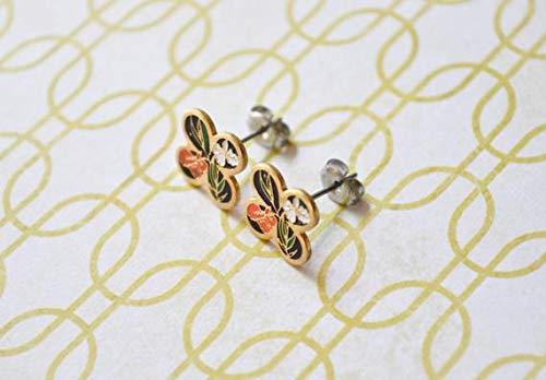 - vanyjewl VANY Iris Enamel Earrings - Orange & White Irises - Clover - Flower Earrings - Vintage Cabochons - Surgical Steel Earrings