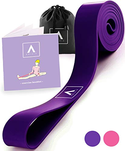 Stretch Band for Ballet and Gymnastics - Kids and Adults - Stretching Band for Dance, Flexibility, Cheerleading, Ice Skating, Yoga, Pilates + Exercise Booklet (Purple)