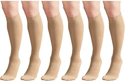 Short Length Surgical Stockings, 18 mmHg Compression for Men and Women, Reduced Length, Closed Toe Beige Medium (6 Pairs)