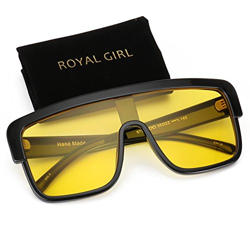 ROYAL GIRL Premium Oversized Sunglasses Women Flat Top Square Frame Shield Fashion Glasses (Yellow Lens, - Square Sunglasses Retro