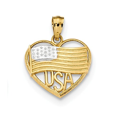 Solid Flag Heart Pendant - Solid 14k Yellow and White Gold Two Tone Polished American Flag & USA in Heart Pendant (16.3mm x 20.6mm)