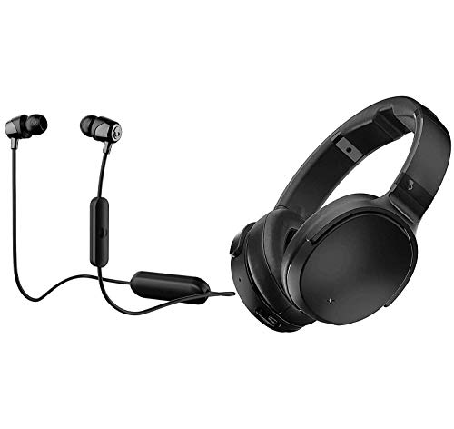 Skullcandy Venue Active Noise Canceling Over-Ear Wireless Bluetooth Headphone Bundle with Skullcandy Jib Bluetooth Wireless in Ear Earbuds - Black, Black