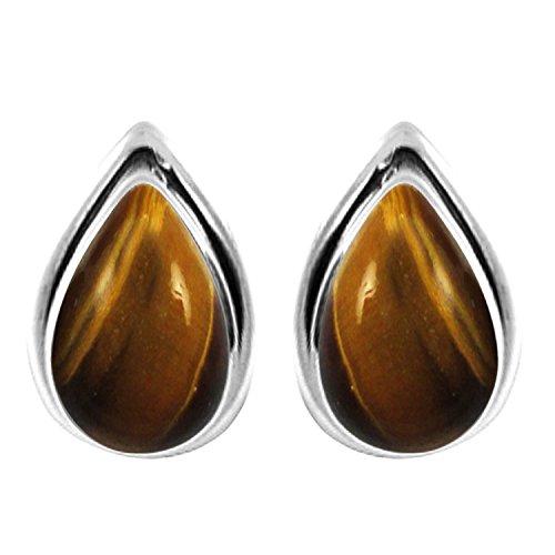 3.10ctw, 6x9mm Pear Genuine Tiger Eye & 925 Silver Plated Stud Earrings ()