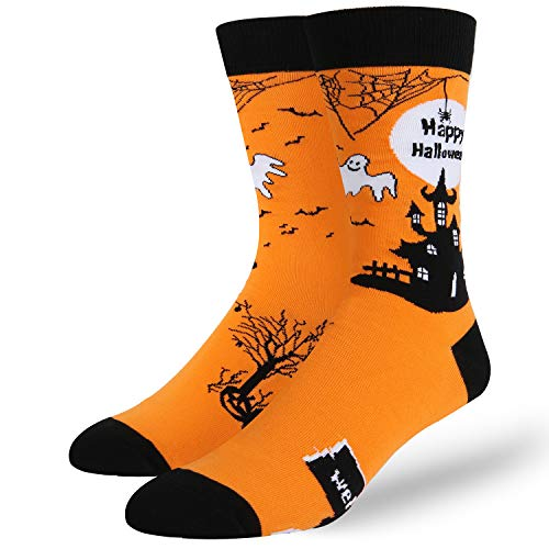 Novelty Crazy Dark Castle Halloween Crew Socks Funny Ghost Party Cotton Candy Socks in Black ()