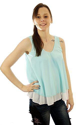Mujer Verano Blusa y túnica,, camiseta, top de gasa transparente, bicolor de 1SIZE (36, 38, 40) Menta