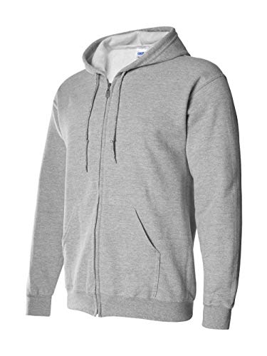 Gildan Adult Heavy Blend Full-Zip Hooded Sweatshirt (Sport Grey) (4X-Large)