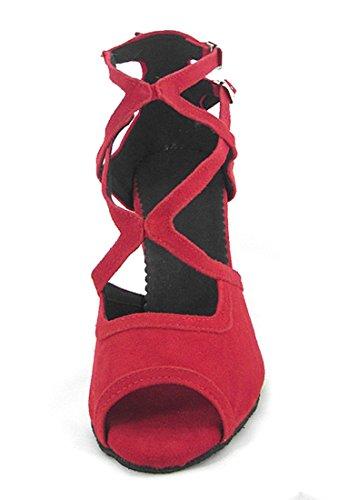 Tda Mujeres Comfort Peep Toe Hebilla Salsa Tango Ballroom Latin Modern Dance Boda Zapatos Suede Red