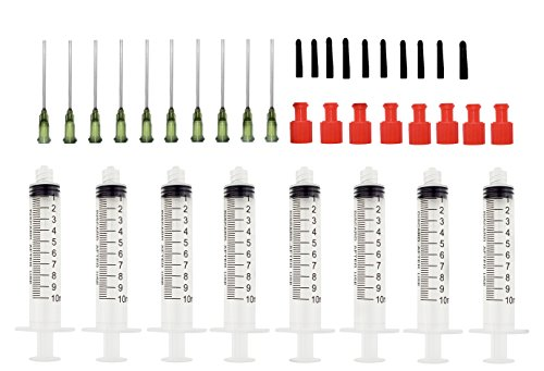 Luer Lock Syringe with Blunt Needle Tip and Cap -10ml Syringes with 14ga Blunt Needles - Ideal for Measuring Liquids, Vape, Oil Dispensing and Glue Applicator