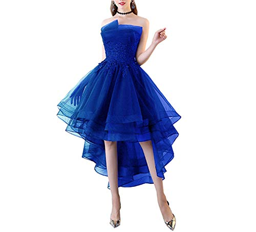 Navy Blue Evening Dresses Short Front Long Back Party Gowns Lace Applique Strapless,Blue,12