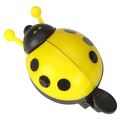 Ladybug Ring Yellow - VORCOOL Funny Cartoon Lady Beetle Ladybug Shaped Bike Bicycle Cycling Handlebar Ring Sound Bell Horn (Yellow)