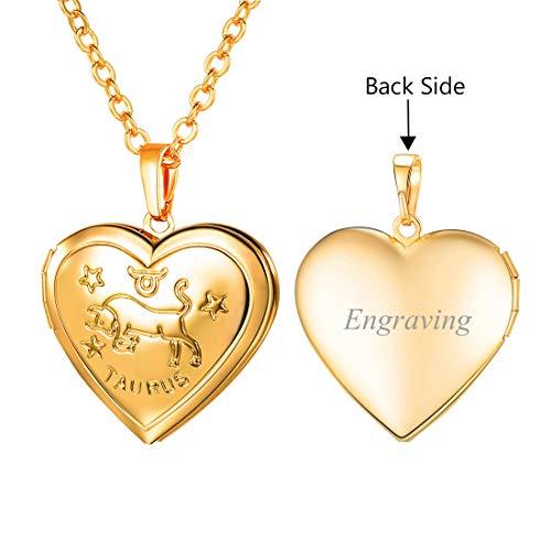 - U7 Women Girls Birthday Zodiac Sign Constellations Jewelry Engraved Heart Locket Pendant Necklace, Chain 22