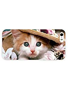 3d Full Wrap Case for iPhone 5/5s Animal Kitten With A Straw Hat