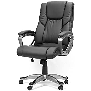Executive Office Chair With Pu Leather Back Support Big Tall High Back Black