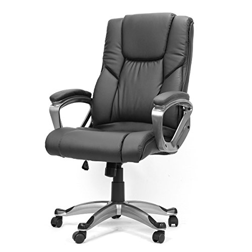 Executive Office Chair With PU Leather Back Support Big&Tall High-Back (Black) by XtremepowerUS