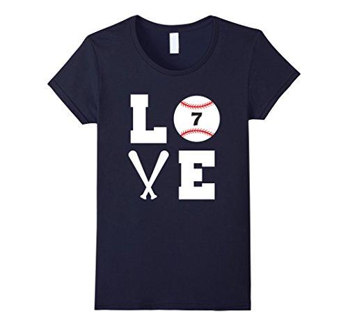 Player Baseball Love (Womens I Love Baseball Player Number #7 Shirt Large Navy)