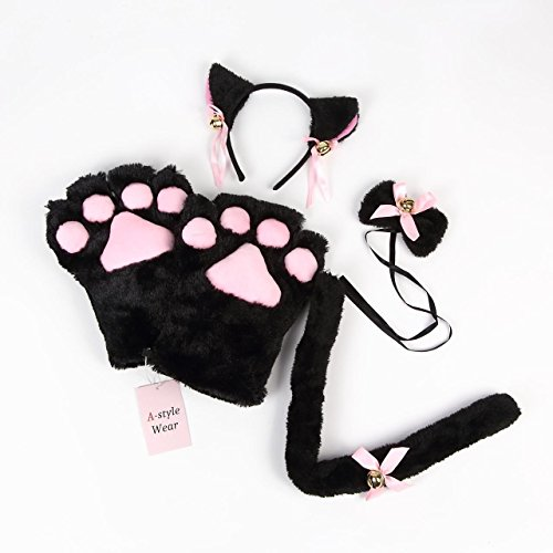 A-stylewear Cute Cat item 4 sets (Ear Headband · Collar · Mof fluffy paw · Tail(Black Cat)) (Cat Cosplay Set)