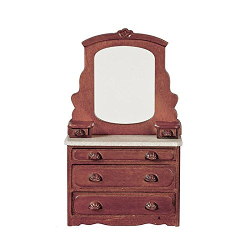 Dollhouse Miniature Victorian Dresser & Mirror in Walnut