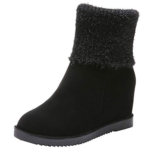 Sunyastor Women Suede Wedges Boots, Fashion Warm Winter Zipper Tassel Ankle Boots Casual Shoes Booties (Wedge Womens Suede Sheepskin)