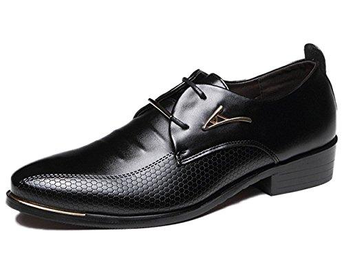 Estilo Hombres Cordones Casual Negocios Comodidad Oxfords Negro de de Minetom Británico con de Vestir de Zapatos Cuero Boda Planos tTdgvq