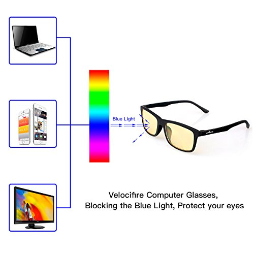 Velocifire Computer Gaming Glasses Block Blue Light, Anti-Glare VG1 Video Glasses with Amber Lens Tint, Prevent Headaches, Reduce Eye Fatigue