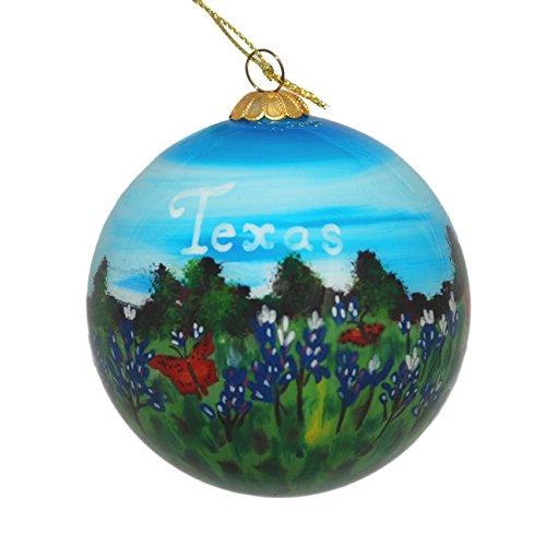 Hand Painted Glass Christmas Ornament - Texas Bluebonnets & Butterflies (Christmas Texas Ornaments)
