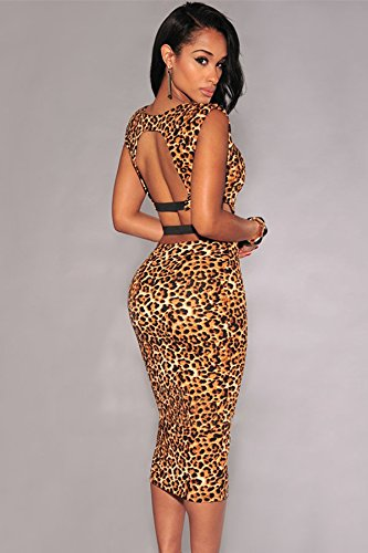 Neue Damen Leopard Print Bodycon Midi Kleid Club Wear Abend Party Sommer Kleider Größe UK 10–12