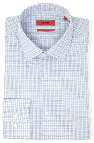 Hugo Boss Men's Mabel Slim Fit Check Dress Shirt (16.5 x 32/33, Blue)