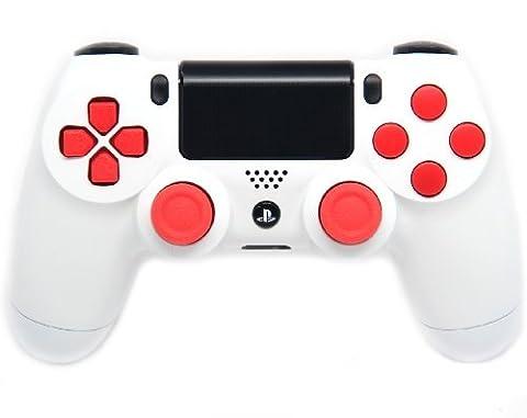 Glossy White/Red Ps4 Rapid Fire Custom Modded Controller 35 Mods COD BO2, BO3, Advanced Warfare, Destiny, Ghosts Quick Scope Auto Run Sniper Breath and (Bo2 Ps4)