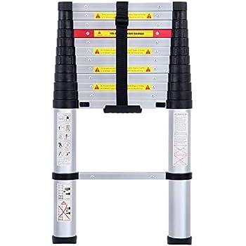 12.5 Foot Aluminum Telescoping Ladder 330 Pound Capacity