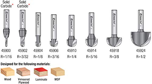 AMS-420 8-PC Carbide Tipped Core Box Router Bit Collection Amana Tool 1//4 Shank