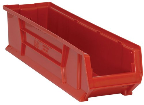 (Quantum QUS970 Plastic Storage Stacking Hulk Container, 30-Inch by 8-Inch by 7-Inch, Red, Case of 6)