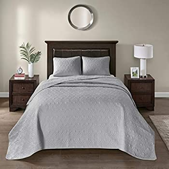 Image of 3 Piece Oversized Gray King Bedspread to the Floor Set, 120 Inches X 118 Inches, Light Grey Bedding Drops Over Edge of King Beds, Polyester, Stylish Classic Stitched, Large Extra Long Wide Home and Kitchen