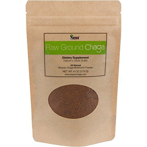 Sayan Siberian Raw Ground Chaga Powder 4 Oz (113g) | Wild Forest Mushroom Tea | Powerful Adaptogen Antioxidant Supplement | Support for Immune System, Digestive Health and Helps Inflammation Reduction For Sale