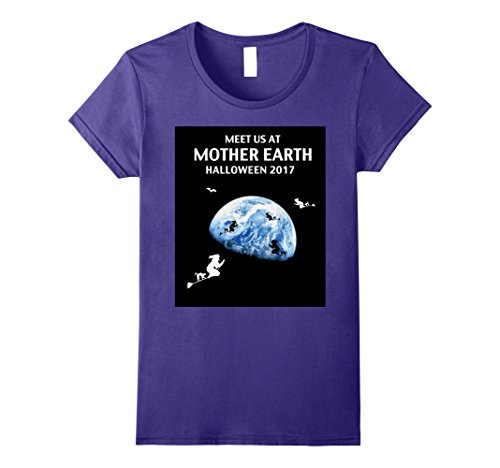Mother Earth Halloween Costume (Womens Halloween T Shirt - Meet us at Mother earth -witches Large Purple)