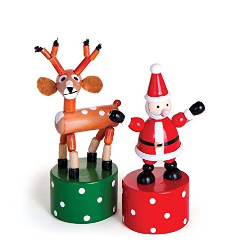 Wooden Holiday Push Puppets, Set of 2 Jack Rabbit Creations Inc