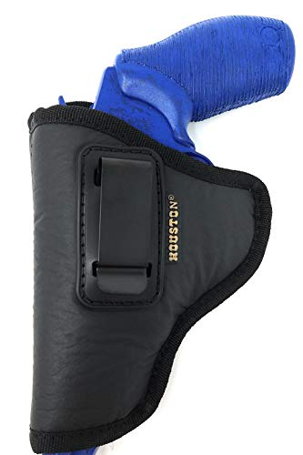 IWB Revolver Holster by Houston - ECO Leather Concealed Carry Soft | Suede Interior for Maximum Protection | FITS: Revolvers K, L, M & N Frames | Taurus Judge | 5 & 6 Shots | 2.5