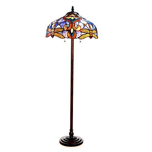 (Chloe Lighting CH1B717BD17-FL2 Julia Tiffany - Style Dragonfly 2 Light Floor Lamp, 62 x 17 x 17
