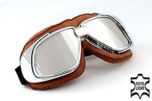 Gafas motos marrón, lentes espejo, cromo marcos de anteojos, cuero real