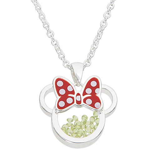 - Disney Birthstone Women and Girls Jewelry Minnie Mouse Silver Plated August Peridot Green Cubic Zirconia Shaker Pendant Necklace, 18+2